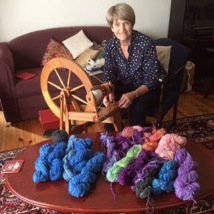 Libby Kalucy with spinning wheel