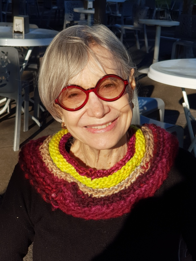 Susan Solomon colourful knitted collar
