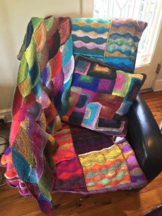 Noro yarn overload. Some of the projects I completed during my months on the couch.