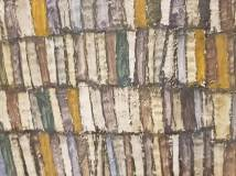 close up of Egon Schiele's painting 'Hauswand'. I loved the colours of the tiles.